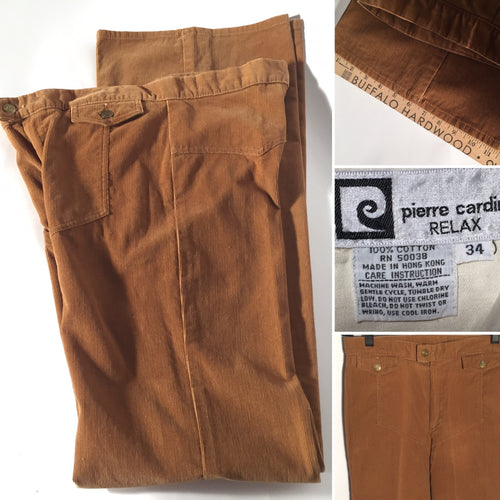 1970s Men's Tall Vintage Pierre Cardin Corduroy Tan Flare Pants 34