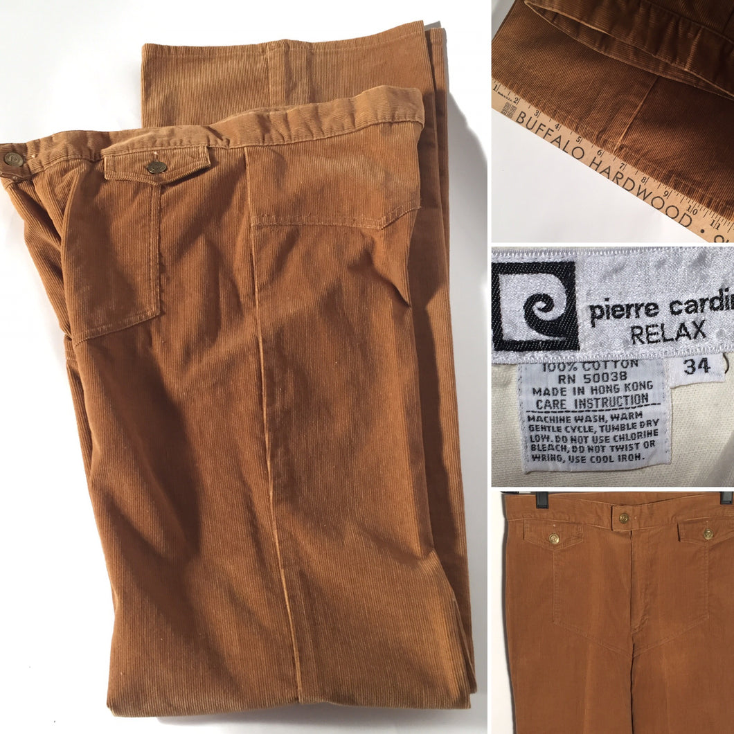 1970s Men's Tall Vintage Pierre Cardin Corduroy Tan Flare Pants 33