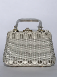 1960s Lucite Handle White Wicker Handbag By Mr Jonas Made In Hong Kong