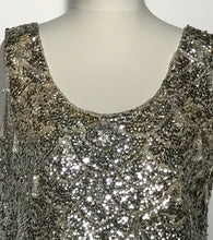 1960s Silver Sequin Beaded Wool Top Size Large