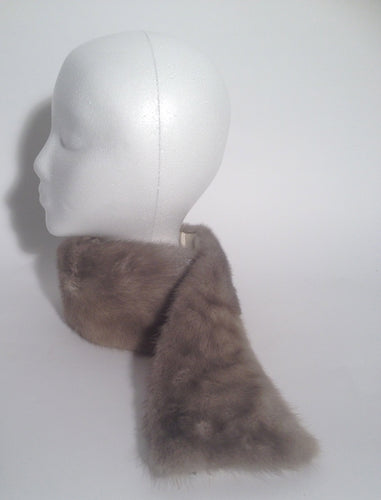 Grey Mink Fur Lined Neck Scarf Wrap