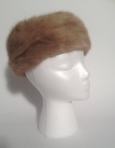 1950s Brown Mink Fur Pillbox Style Hat Designed By Lora