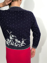 1960s Navy Blue Embe Lambs Wool Hand Beaded Cardigan Size 38