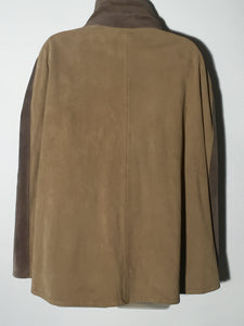 Perforated  Mexican Leather Suede Two Tone Color Block Cape Poncho Hippie Chic