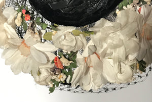 Black Floral Straw Track Easter Hat Black Netting Top
