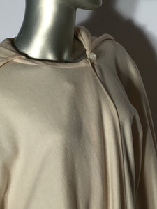1970s Spring Virgin Wool Hooded Cream Poncho Cape By Also Gordon