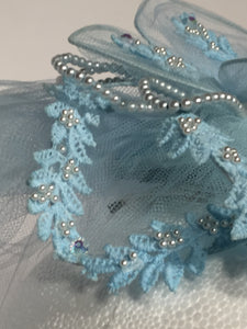 Vintage Bable Blue Nylon Netted Veil Hairpiece Topper Comb Sequins And Pearls