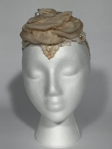 Vintage Wedding Lace Floral Fabric Petal Headband With Crystal & Pearls
