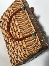 1960s Lucite Handle Brown Wicker Handbag Made In Hong Kong