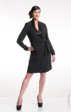 Dana Buchman 1980s Black Wrap Dress With Bugle Beaded Collar and Cuff