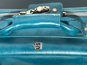 1960s Vintage Sturdy Vinyl Blue Luggage From US Luggage Corporation