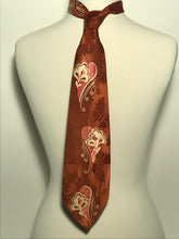 "1950s Men's Rayon Paisley Swirled Hand Screened 4"" Wide Fat Neck Tie"