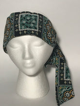 Vintage Green Handkerchief Patterned Long Floral Head Scarf