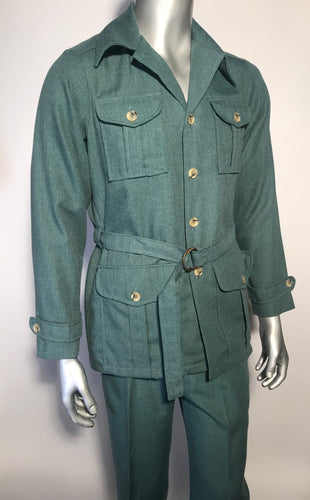 Vintage 1970s Levis Panatela Signature Collection 2 Piece Green Suit USA Sz 40