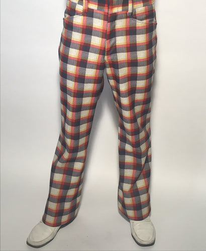Late 1960s Vintage Men's Plaid Golf Pants Size 32
