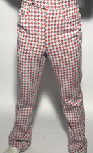 "Men's Grey and Red Herringbone Polyester Pants Size 34"" Waist"