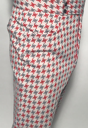 Men's Grey and Red Herringbone Polyester Pants Size 34