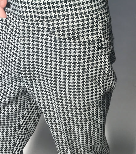 Vintage Men's Black and White Houndstooth Polyester Pants Size 32