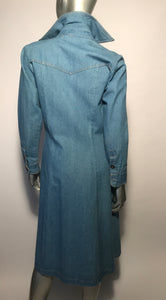 1970s Foxmoor Denim Long Jacket From Made In The USA Sz 7