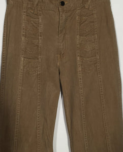 "1970s Men's Tall Vintage Hands Off Light Brown Cotton Flare Pants 31"" x 33"""