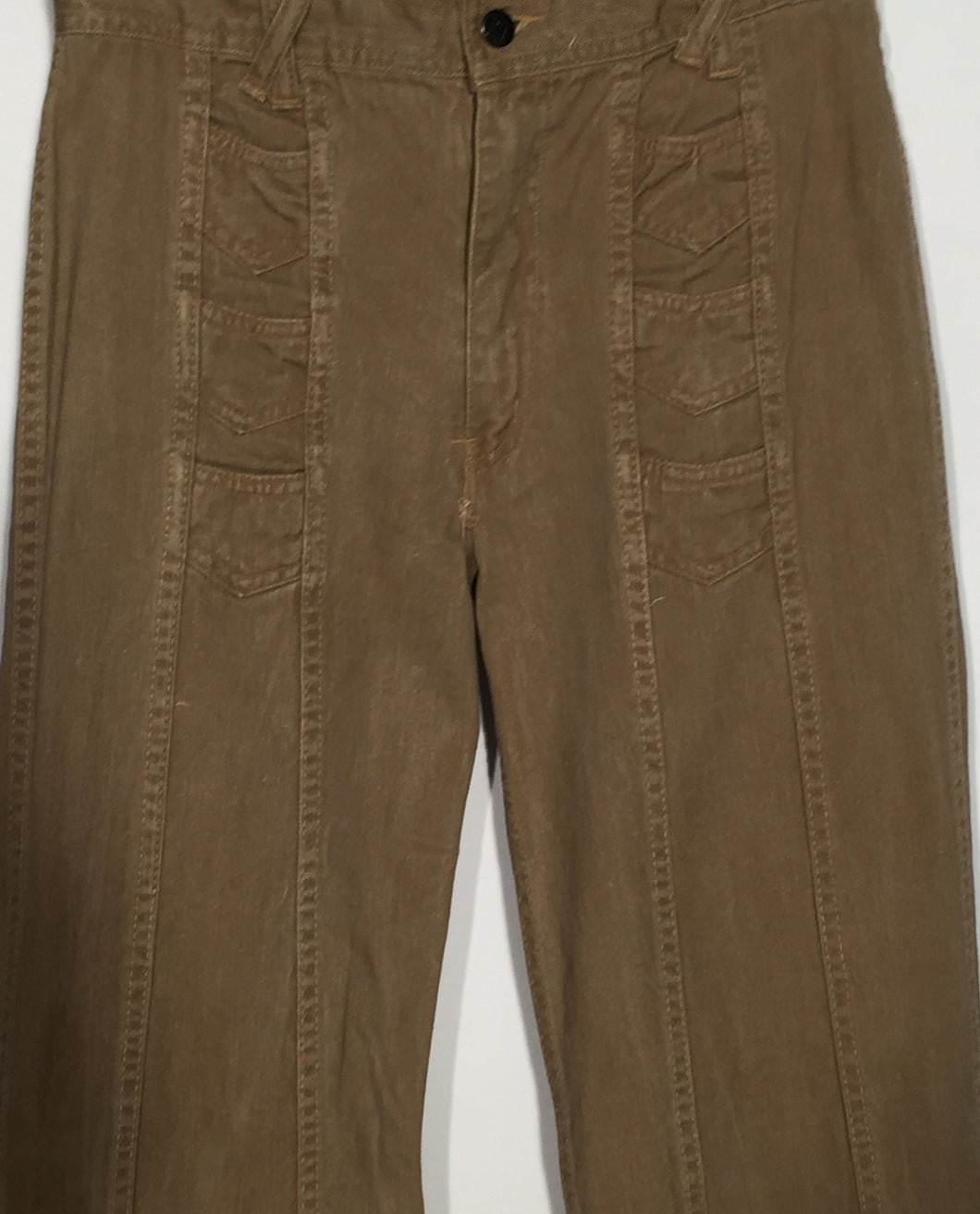 1970s Men's Tall Vintage Hands Off Light Brown Cotton Flare Pants 33