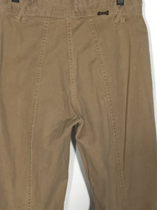 "1970s Men's Tall Vintage Hands Off Light Brown Cotton Flare Pants 33"" x 35"""