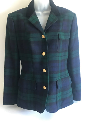 Vintage 1980s Black Watch Plaid Ralph Lauren Womens Blazer Sz 12