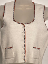1970s White Sleeveless Button Up Acrylic Knit Vest Top