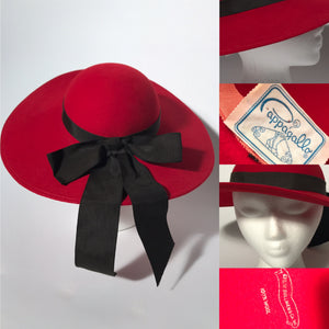 Vintage Red Wool Pappagallo Madeline Wide Brim Hat With Black Ribbon