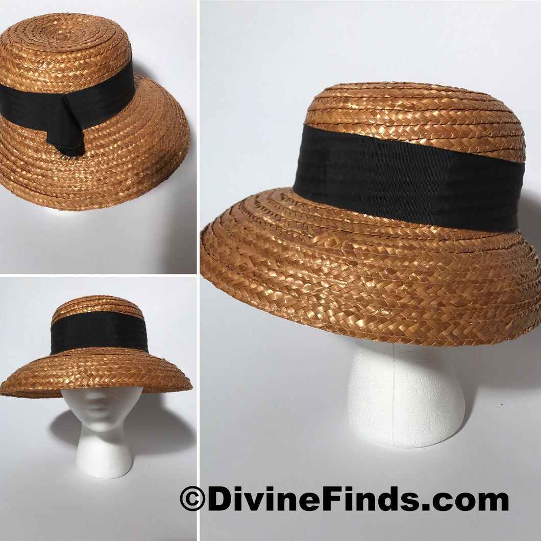 Golden Straw Wide Brim Asymmetrical With Black Grosgrain Ribbon Track Easter Hat