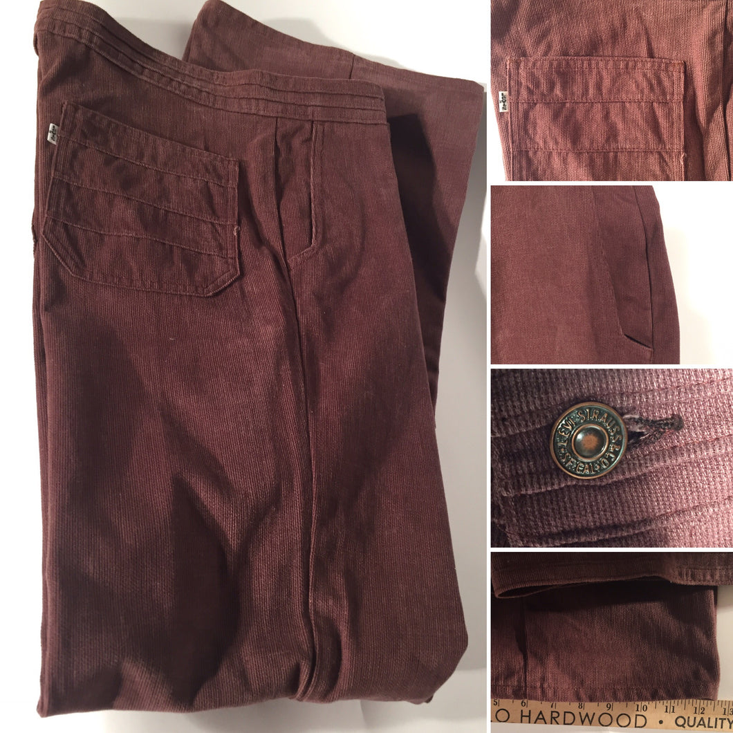 1970s Men's Vintage Rust Colored Levi's Corduroy Flare Pants 34