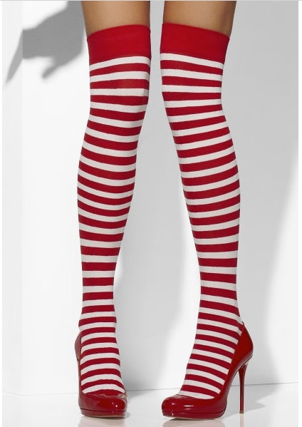 Fever Opaque Candy Cane Stripe Red & White Print Tights