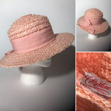 Vintage Christine Original Pink Straw Wide Brim Ribbon Easter Track  Hat