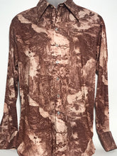Brown 1970s Vintage Men's Disco Shirt Size Large RENTAL