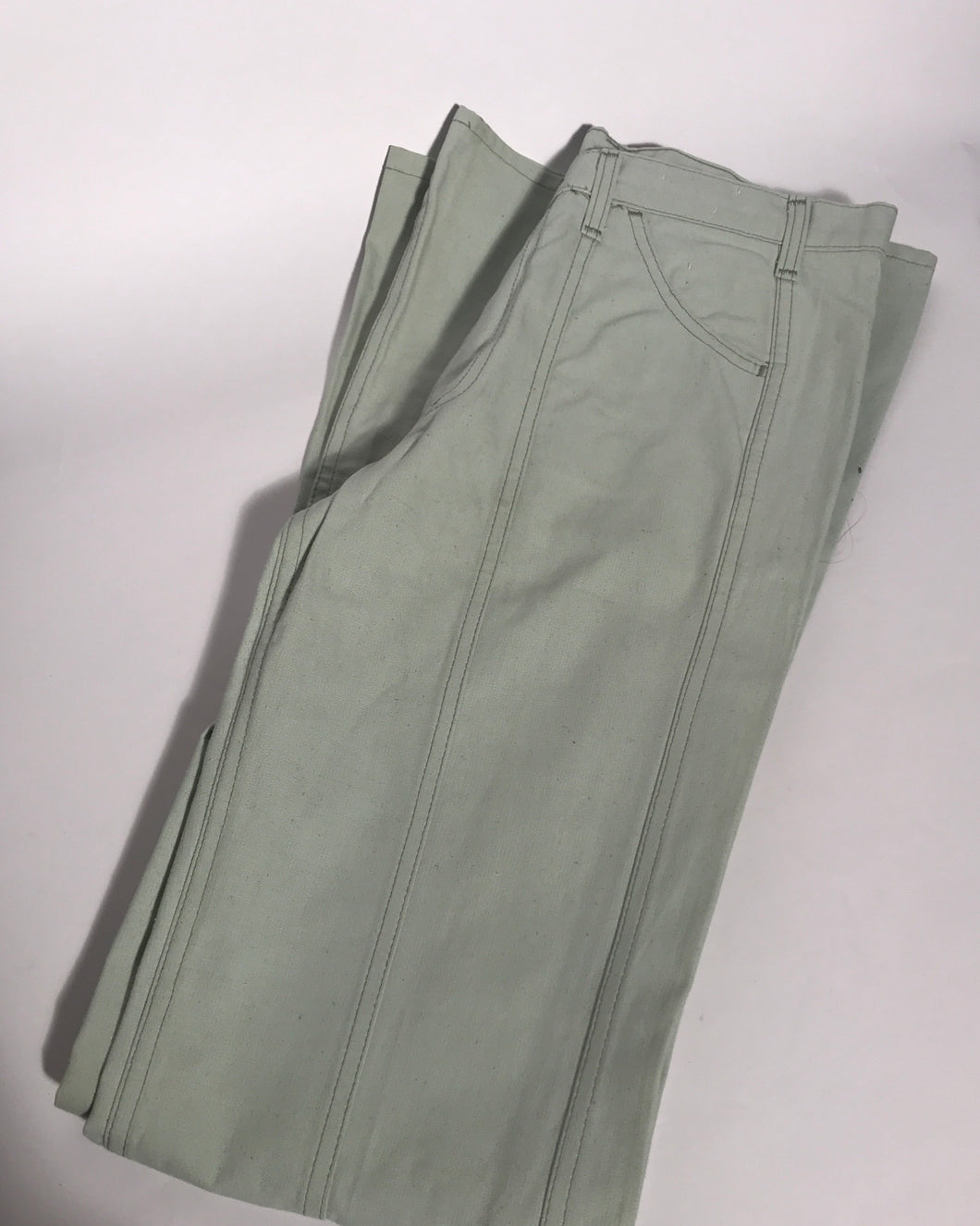 Deadstock Vintage 1970s Levis Light Green Bellbottom Jeans Extra Tall 34