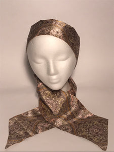 Long Vintage Pale Pink Paisley Patterned Head & Neck Scarf