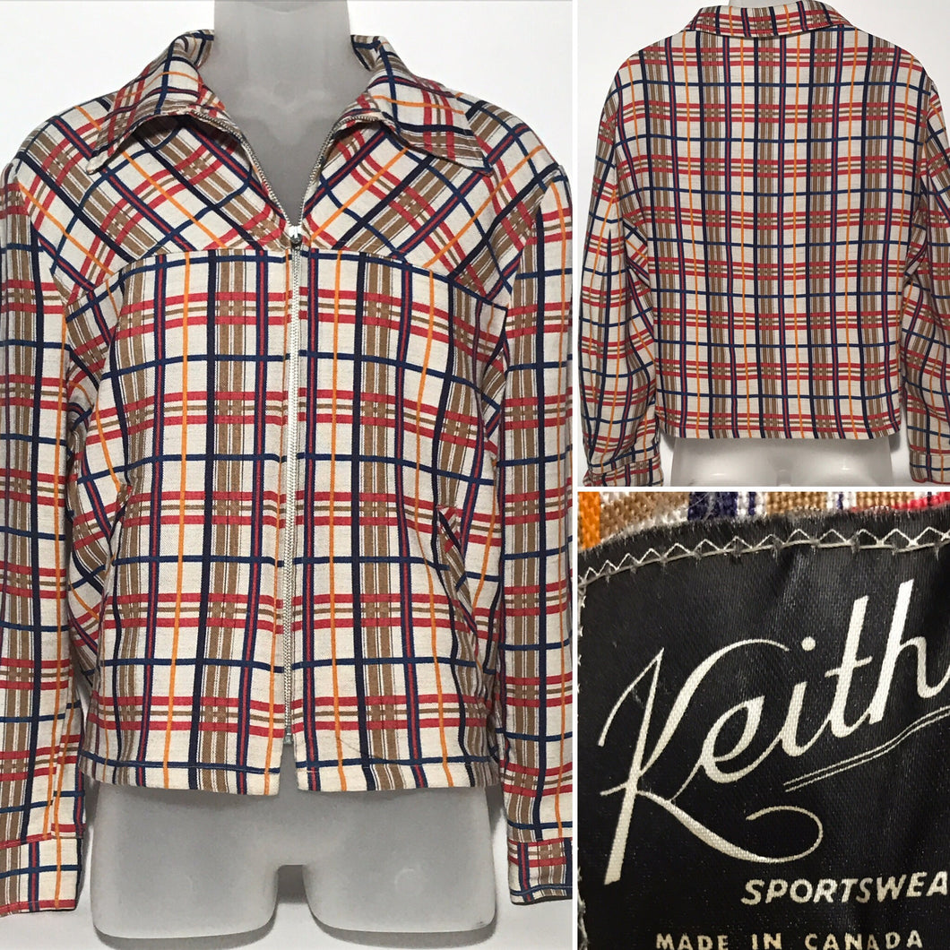 1960s Plaid Rayon Linen Men's Short Waist Jacket From Keiths Sportswear