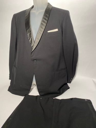 Men's Vintage Black Tux With Suspender Buttons 41