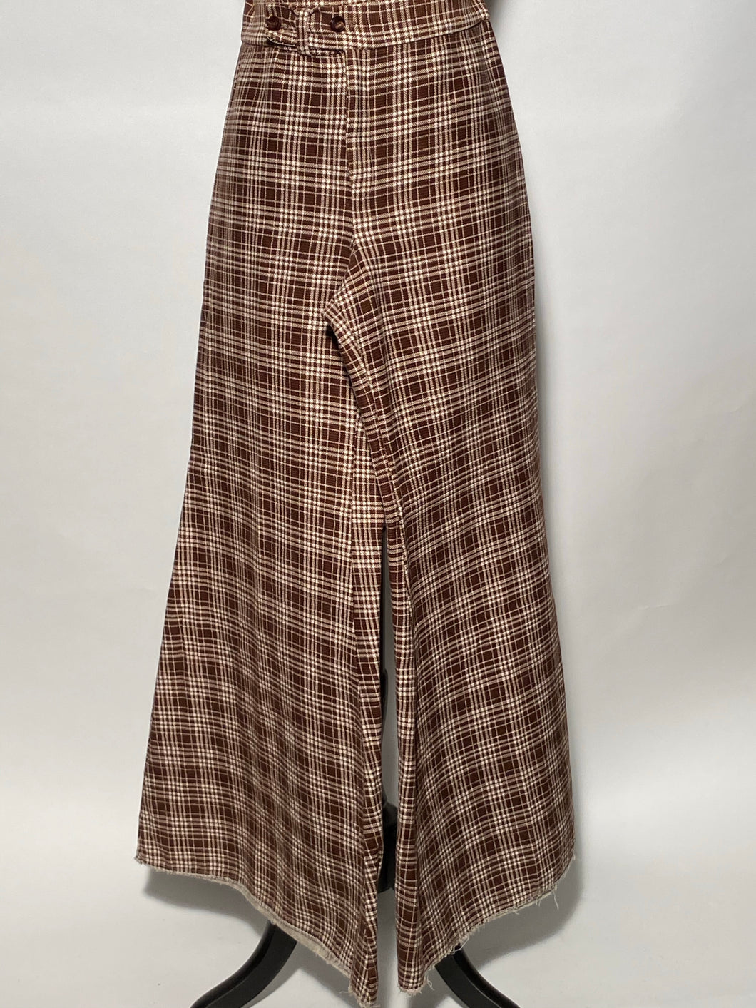 Womens 1970s High Waisted Brown & White Plaid Palazzo Pants By Put On USA