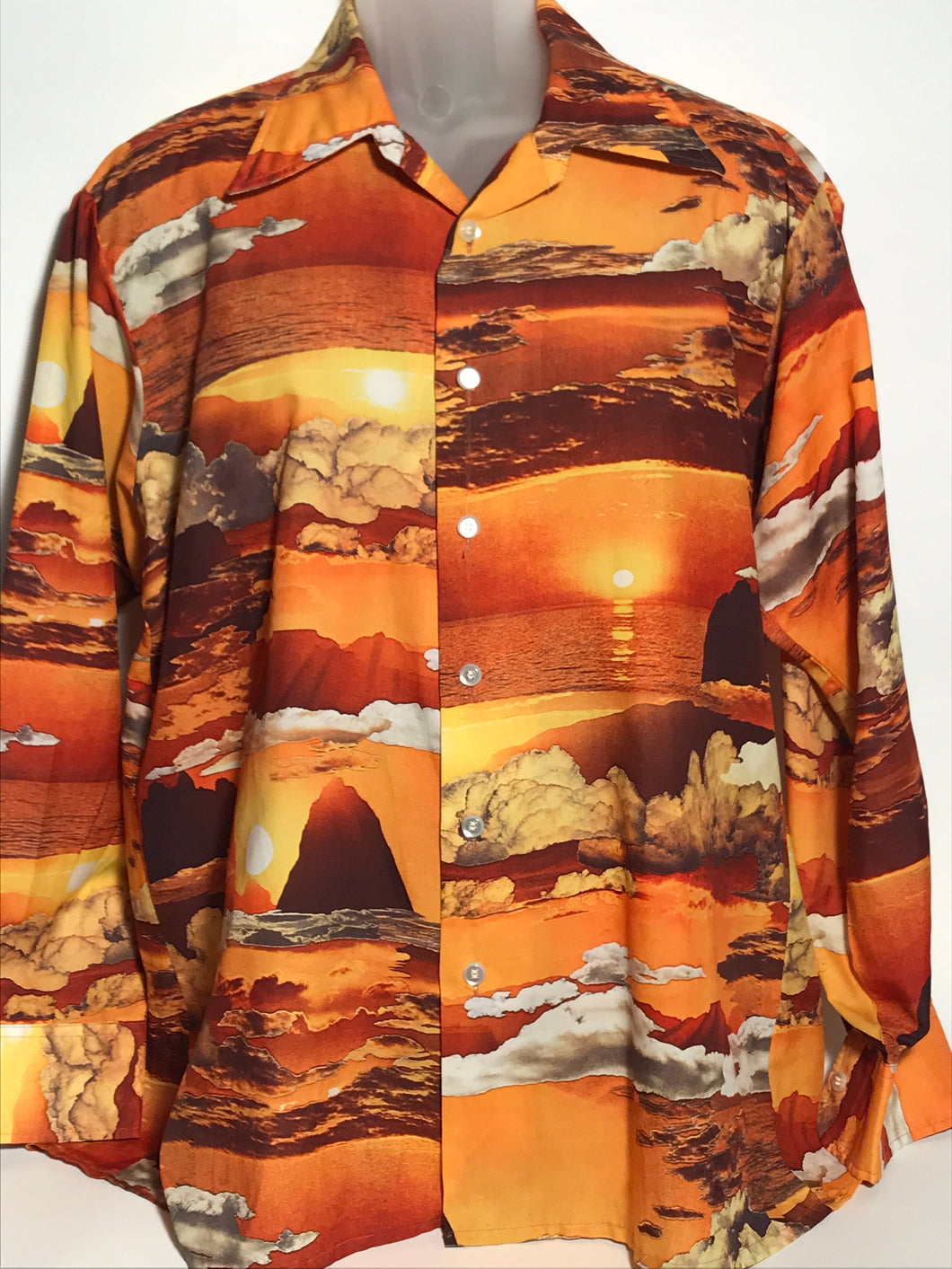Vintage 1970s Men's Joe Namath Sunset Disco Shirt Extra Large RENTAL XL