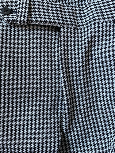 Black & White Polyester Vintage Houndstooth Men Pants - Plaid 34