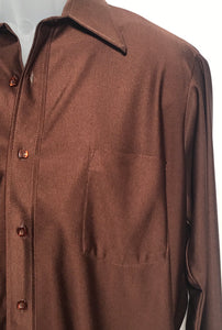 Van Heusen Qiana Vintage Brown Men's Disco Shirt Size Medium RENTAL