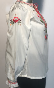 Vintage 1960s Chinese Peasant Top Hand Embroidered Silk By Peony