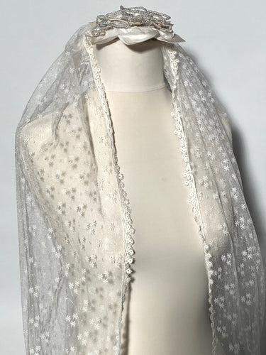 Vintage Pearl Beaded Veil Topper & Long 92
