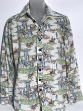 Vintage Apple Bee Men's Disco Victorian Scene Shirt Extra Large RENTAL