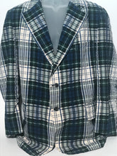 1970s Men's Seersucker Plaid Jacket Size 42