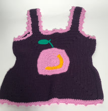 Vintage Sleeveless Purple Apple Design Acrylic Knit Top