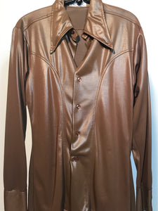 Men's 1970s Brown Disco Shirt Size Medium Jack McConnell RENTAL