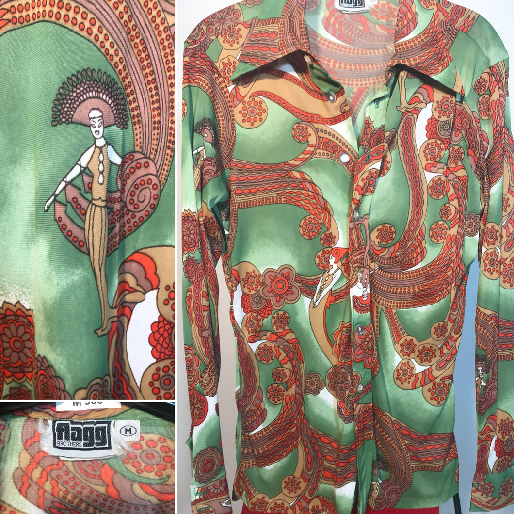 1970s Men's Disco Shirt Size Medium By Mr Jeff RENTAL