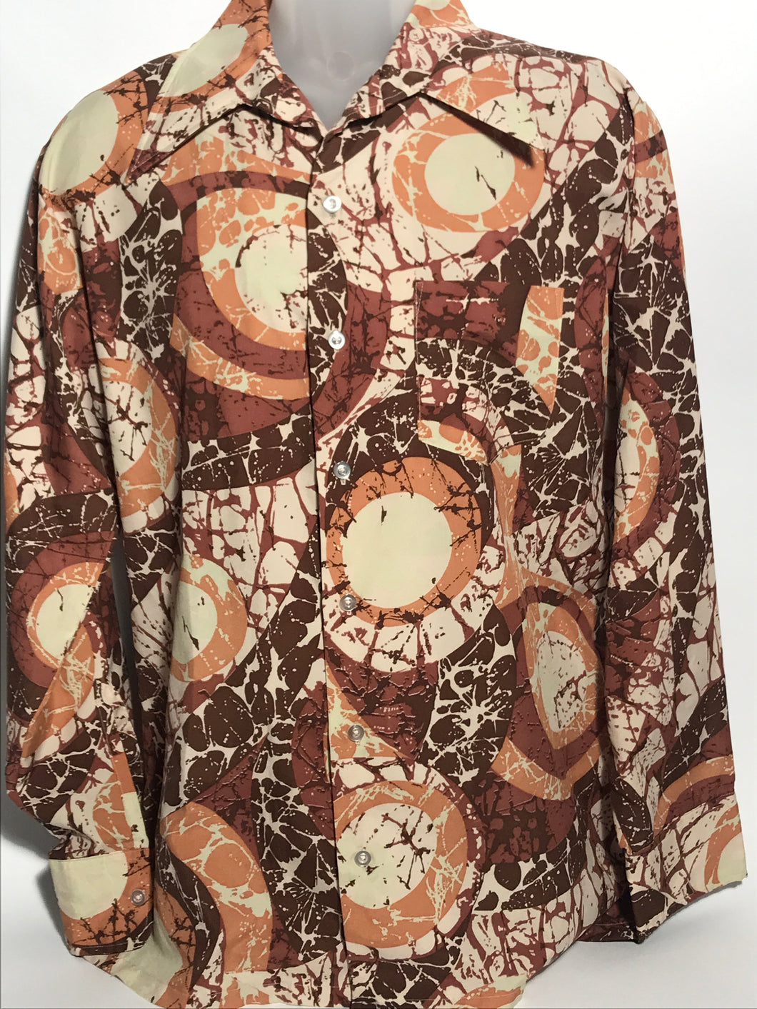 Norris 1970s Brown Men's Disco Shirt Size Extra Large RENTAL XL917